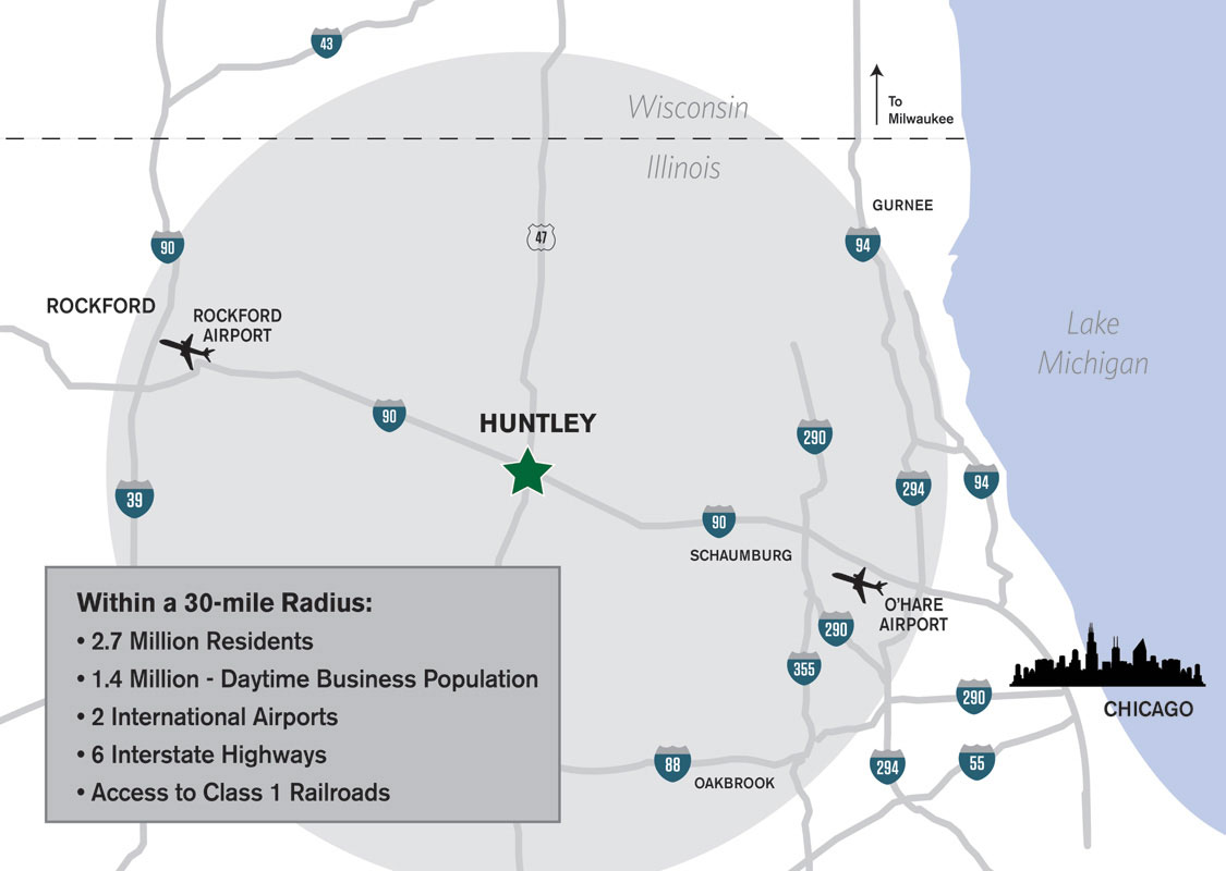 Huntley Corporate Park Maps - Chicago map airports